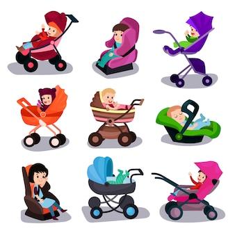Zestaw wózków dziecięcych i fotelików samochodowych, bezpieczny transport ilustracji z kreskówek dla małych dzieci
