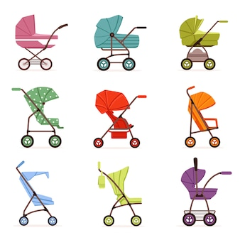 Zestaw wózków dziecięcych, różne rodzaje transportu dzieci, kolorowe ilustracje