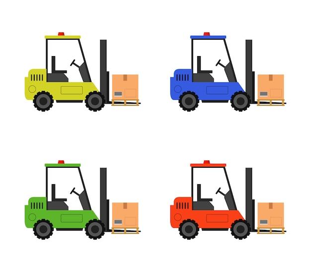Zestaw wózków widłowych z pudełkiem