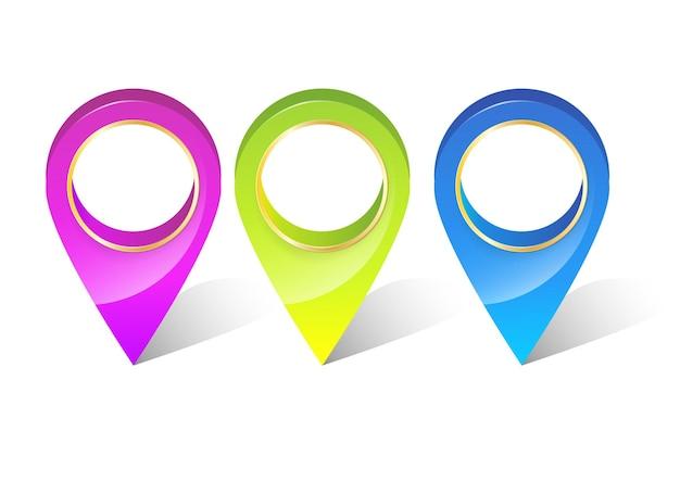 Zestaw wskaźników gps z kolorowym pinem 3d