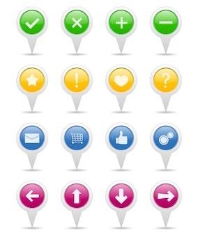 Zestaw wskaźników z ikonami