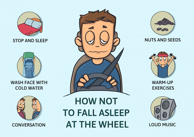 Zestaw wskazówek, jak nie zasnąć podczas jazdy. brak snu. jak nie zasnąć za kierownicą. ilustracja na niebieskim tle. styl kreskówki. infogrphics.