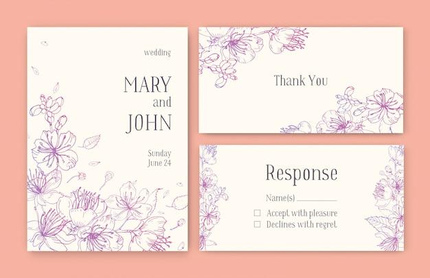 Zestaw wspaniałych szablonów karty save the date, zaproszenia na ślub lub podziękowania z japońskimi kwiatami sakury ręcznie rysowanymi z różowymi liniami konturowymi