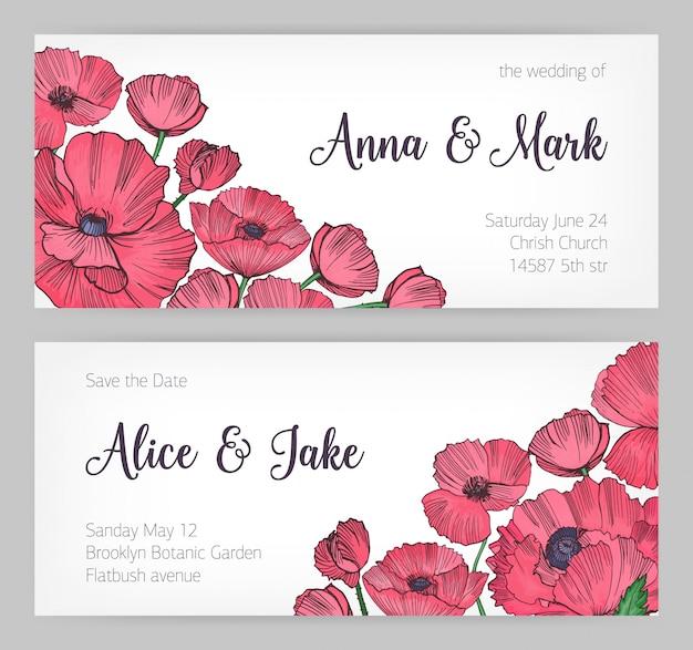 Zestaw wspaniałych szablonów karty zapisz datę, zaproszenie na ślub