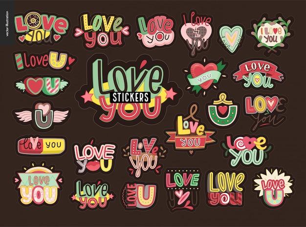 Zestaw współczesnego dziewczęcego listu love you