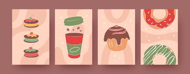 Zestaw współczesnych plakatów z ciastkami, kawą i pączkami. muffin, pączki, filiżanki pastelowe ilustracje wektorowe