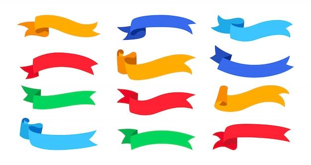 Zestaw wstążek. kolekcja puste płaskie taśmy, ozdobne ikony. vintage design, kolorowe wstążki wygięte z jednej strony, styl kreskówkowy. zestaw ikon internetowych taśm banerowych tekstu. ilustracja na białym tle