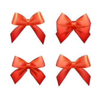 Zestaw wstążek na prezenty świąteczne. czerwone łuki prezentowe