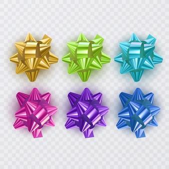 Zestaw wstążek prezentowych z kolorowymi kokardkami
