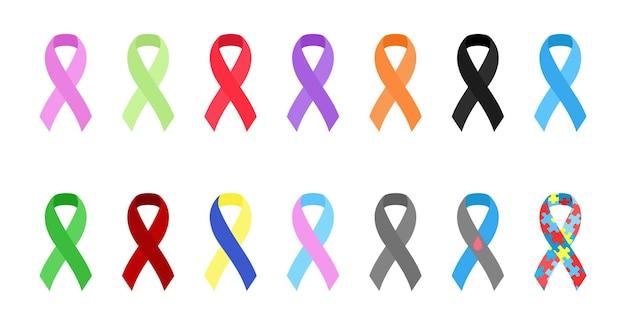 Zestaw wstążek świadomości symbol wsparcia i solidarności kolekcja elementów projektu