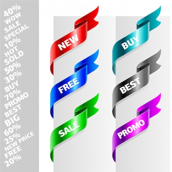 Zestaw wstążek w różnych kolorach do promocji lub reklamy.