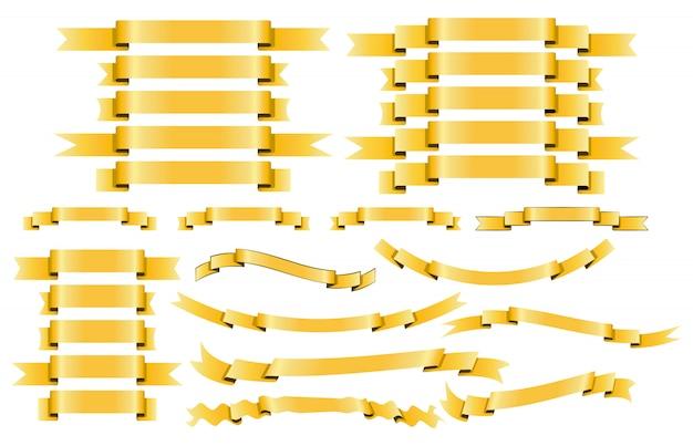 Zestaw wstążek z żółtego złota na białym tle.