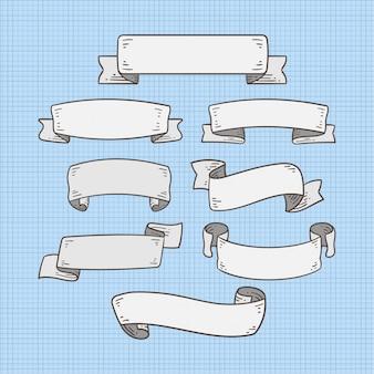 Zestaw wstążka transparent doodle na kolor biały