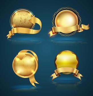 Zestaw wstążka złota odznaka