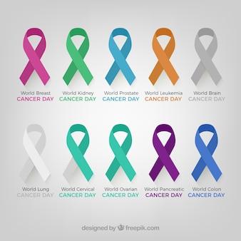 Zestaw wstążkami świadomości w różnych kolorach