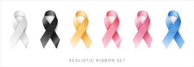 Zestaw wstążki, biały, czarny, żółty, czerwony, różowy, niebieski. realistyczny wektor