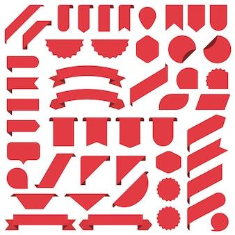 Zestaw wstążki czerwone puste sztandary.