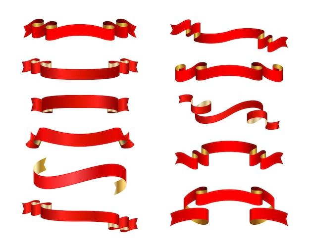 Zestaw wstążki czerwony sztandar