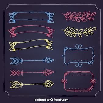 Zestaw wstążki, ramki i strzałki w stylu tablica