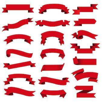 Zestaw wstążki retro czerwony web
