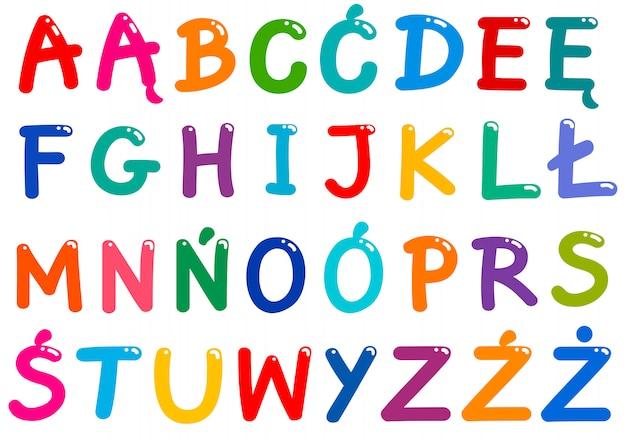 Zestaw wszystkich polskich liter alfabetu