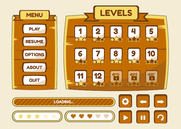 Zestaw wyboru menu gry dla gier rpg i przygodowych, w tym menu, opcje i wybór poziomu