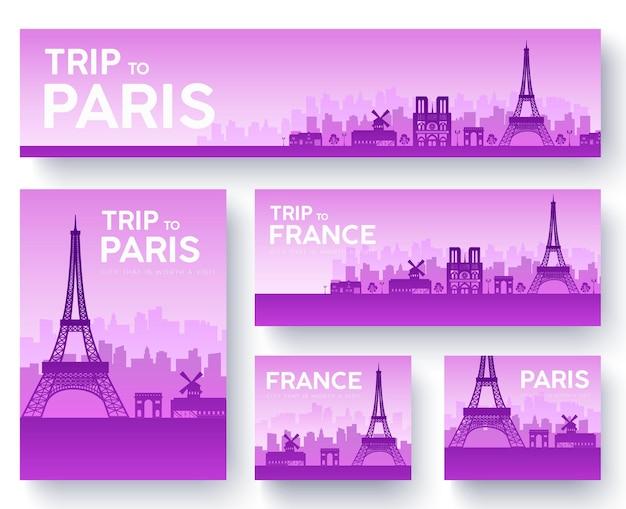 Zestaw wycieczki krajoznawczej francji krajobraz kraju ornament. kultura tradycyjna, ulotka, magazyn, plakat.