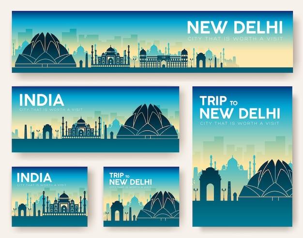 Zestaw wycieczki krajoznawczej ornament krajobrazy indii.