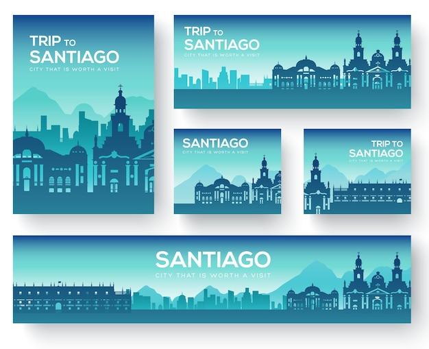 Zestaw wycieczki turystycznej z krajobrazem santiago.