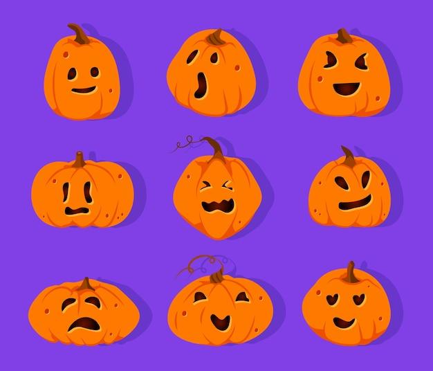 Zestaw wyciętych z papieru dynie halloween. squash ze słodkimi emocjami twarzy. przerażający zabawny uśmiech dyni