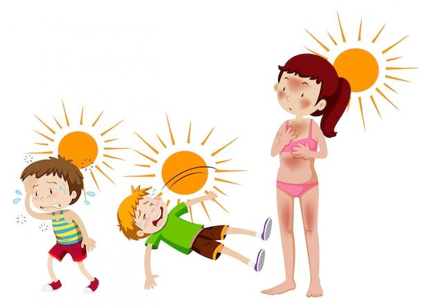 Zestaw Wykreowanego Słońca I Ciepła Darmowych Wektorów
