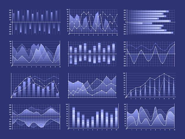 Zestaw wykresów biznesowych i diagramu, schemat blokowy plansza. rynek danych biznesowych.