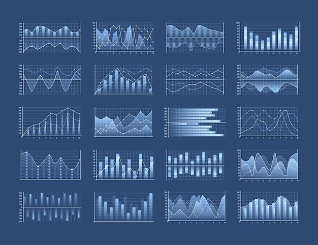Zestaw wykresów biznesowych i diagramu, schemat blokowy plansza.