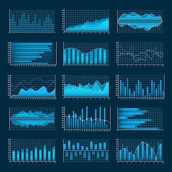 Zestaw wykresów biznesowych. infografiki i diagnostyka, wykresy i schematy.