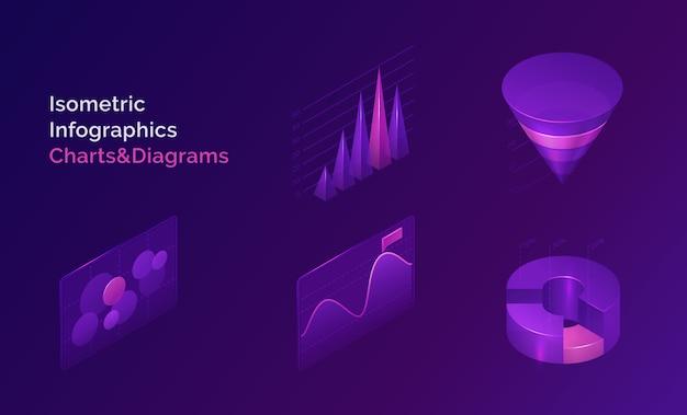 Zestaw wykresów i diagramów infografiki izometryczny