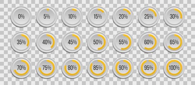 Zestaw wykresów kołowych procent plansza na przezroczystym tle. segment ikon koła 10% - 100% do projektowania stron internetowych, interfejsu użytkownika (ui) lub infografik.