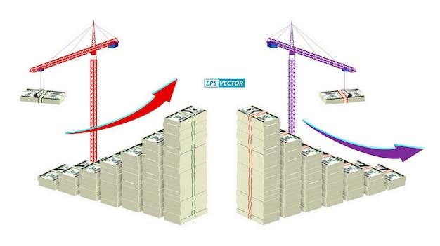 Zestaw wykresu ekonomicznego lub motywu ekonomicznego infografiki lub koncepcji raportu rocznego