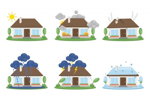 Zestaw wypadków w domu. ogień i błyskawice, śnieg i powódź.