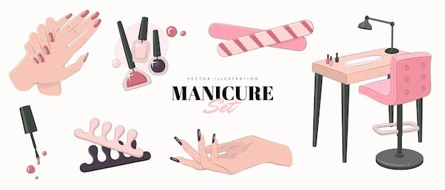 Zestaw wypielęgnowanych dłoni i narzędzi do manicure