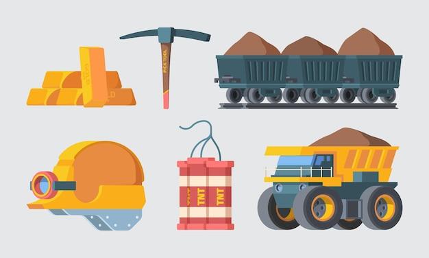 Zestaw wyposażenia kopalni.