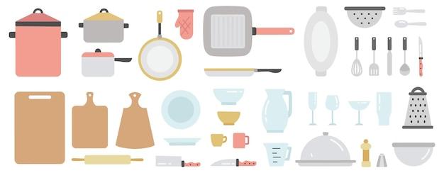 Zestaw wyposażenia kuchni. kolekcja narzędzi kuchennych i naczynia. sztućce domowe lub restauracyjne. garnek, patelnia, widelec i inne przybory kuchenne. ilustracja na białym tle płaski wektor