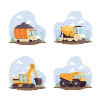 Zestaw wyposażenia pojazdów budowlanych kolekcja ilustracji wektorowych projektowania