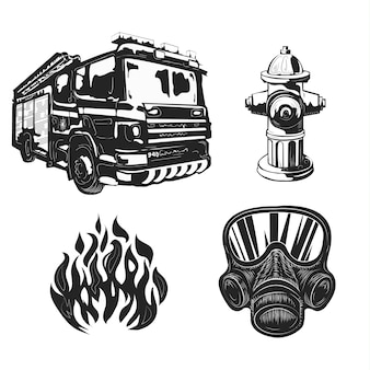 Zestaw wyposażenia strażaka na białym tle.