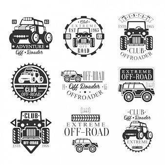 Zestaw wypożyczalni quadów z emblematami z czarno-białym czterokołowym motocyklem atv off-road