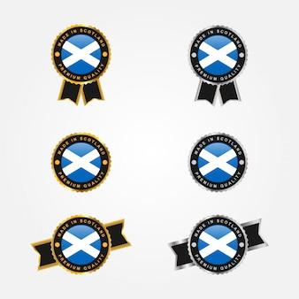 Zestaw wyprodukowano w szkockich etykietach z emblematami