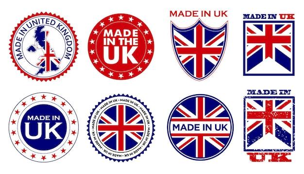 Zestaw wyprodukowanych w wielkiej brytanii etykiet na produkty detaliczne lub elementy z tkaniny