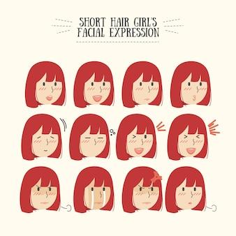 Zestaw wyraz twarzy red hair girl