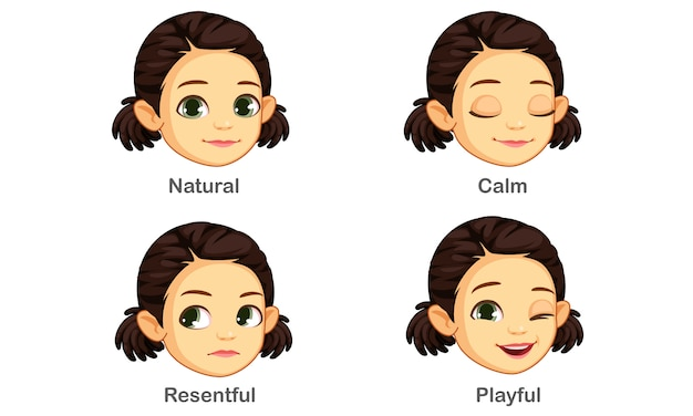 Zestaw wyrazów twarzy dziewczyny