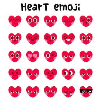 Zestaw wyrazu twarzy emoji serca