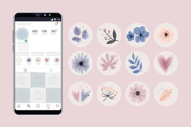 Zestaw wyróżnień akwarela instagram
